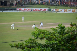 watching cricket on the ramparts, International Stadium