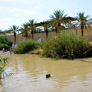 very, very close to the Israeli Pilgrims across the Jordan River