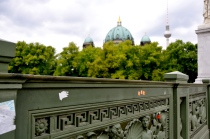 view from Schlossbrücke (Palace Bridge) wrought iron balustrade decorated with sea creatures