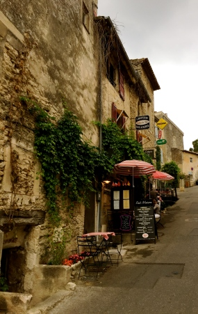cobbled streets and shops