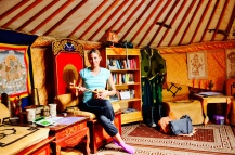 library ger (yurt) playing traditional Mongolian morin khuur